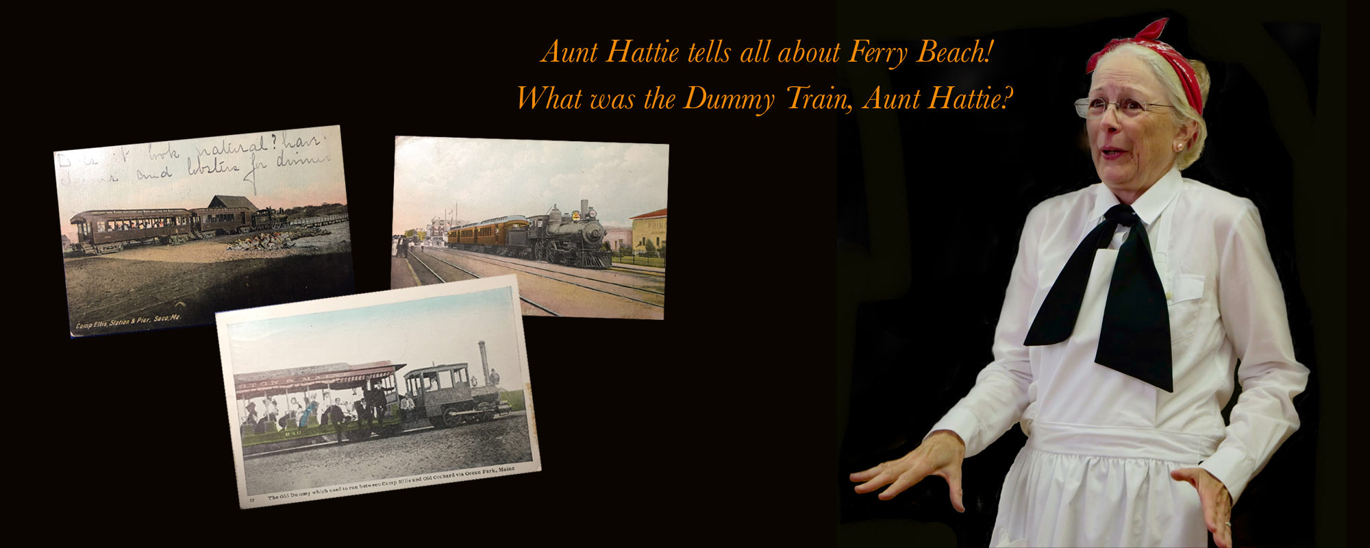 Jude Lamb, storyteller, as Aunt Hattie. Dummy Train postcard images.